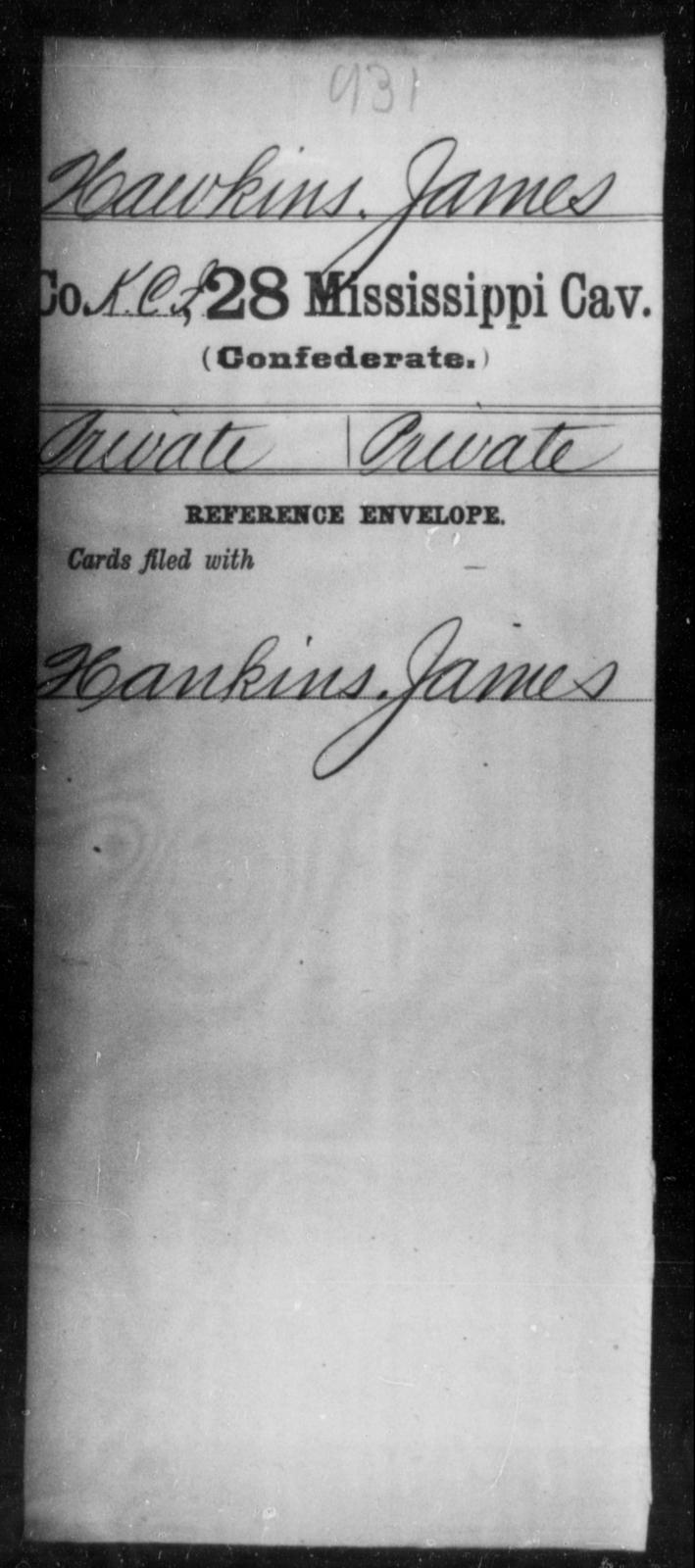 Hawkins, James - Age: [Blank], Year: [BLANK] - Mississippi Twenty-eighth Cavalry, F-He