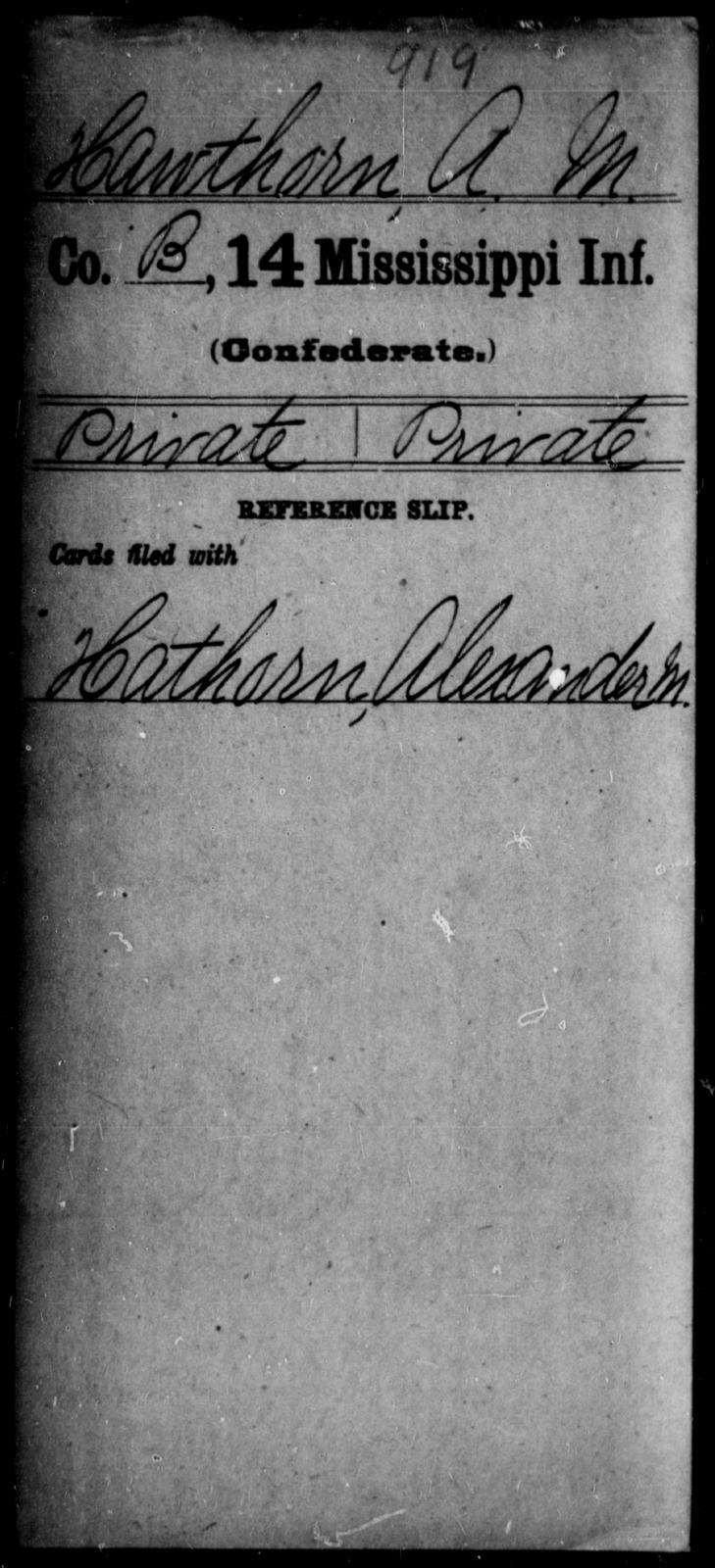 Hawthorn, A M - Age: [Blank], Year: [BLANK] - Mississippi Fourteenth Infantry, F-H