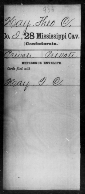 Hay, Theo C - Age: [Blank], Year: [BLANK] - Mississippi Twenty-eighth Cavalry, F-He