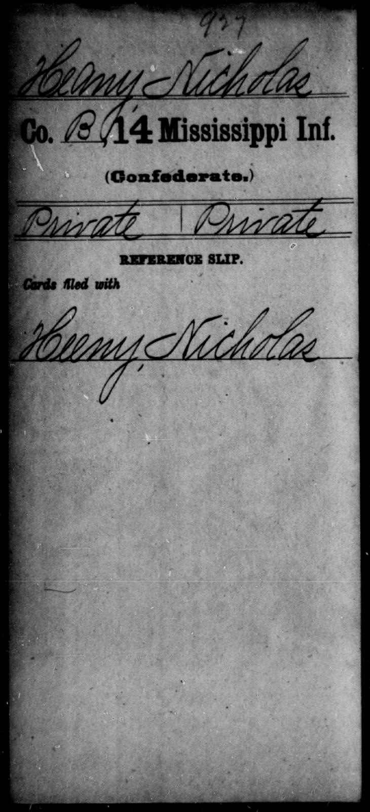 Heany, Nicholas - Age: [Blank], Year: [BLANK] - Mississippi Fourteenth Infantry, F-H
