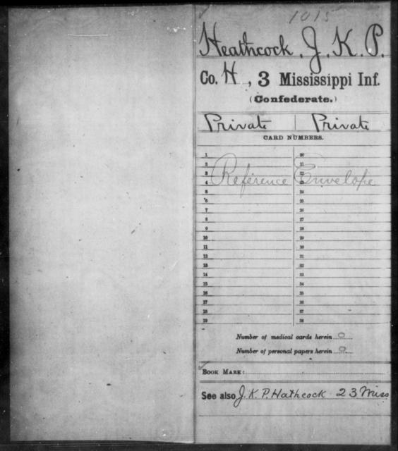 Heathcock, J K P - Age: [Blank], Year: 1861 - Mississippi Third Infantry, G-K