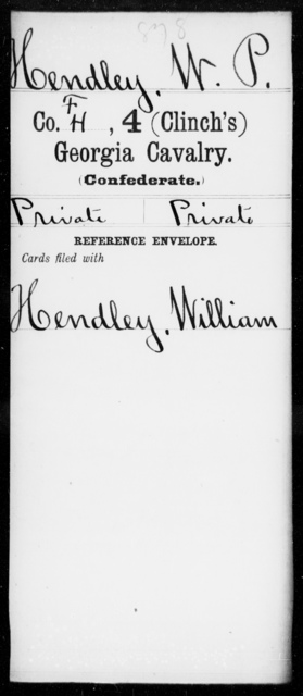 Hendley, W P - 4th (Clinch's) Cavalry