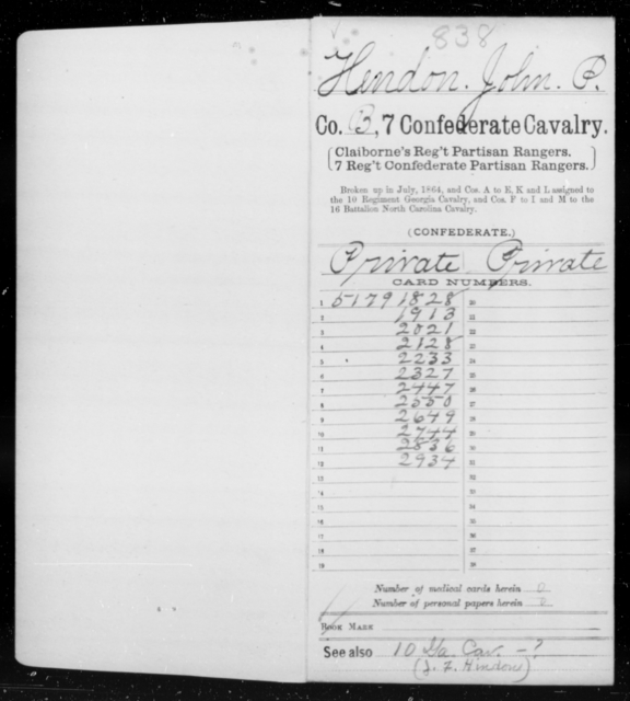 Hendon, John P - Age 18, Year: 1862 - Seventh Confederate Cavalry, G-K - Raised Directly by the Confederate Government