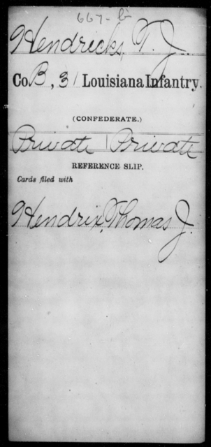 Hendricks, T J - Age [Blank], Year: [Blank] - Roll Military Unit, H - L - Louisiana