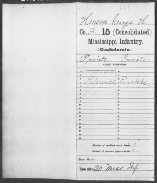 Henson, George H - Age: [Blank], Year: [BLANK] - Mississippi Fifteenth Infantry, U-Z AND Fifteenth (Consolidated) Infantry