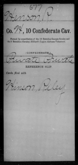 Henson, R - Age [Blank], Year: [Blank] - Tenth Confederate Cavalry, F-K - Raised Directly by the Confederate Government