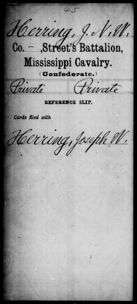 Herring, J N W - Age: [Blank], Year: [BLANK] - Mississippi Street's Battalion, Cavalry AND Stabb's Battalion, State Cavalry AND Terrell's Unattached Co., Cavalry AND Capt. Vivion's Co., Cavalry AND William's Co., Cavalry AND Capt. Wilson's Co., Cavalry AND Capt. Wilson's Independent Co., Mounted Men (Neshoba Rangers) AND Yerger' s Regiment, Cavalry