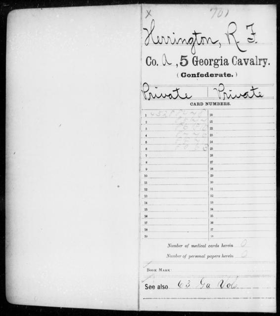 Herrington, R F - 5th Cavalry