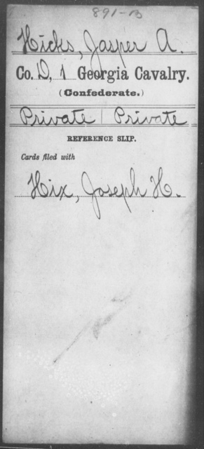 Hicks, Jasper A - 1st Cavalry