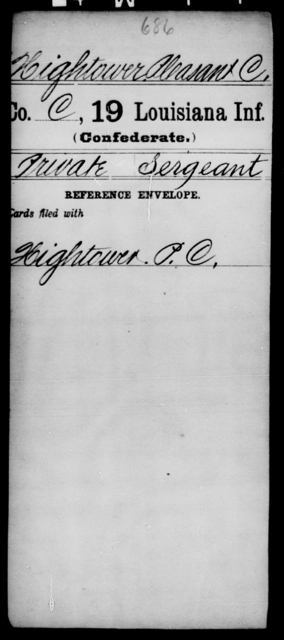 Hightower, Pleasant C - Age [Blank], Year: [Blank] - Nineteenth Infantry, Fe - Ho - Louisiana