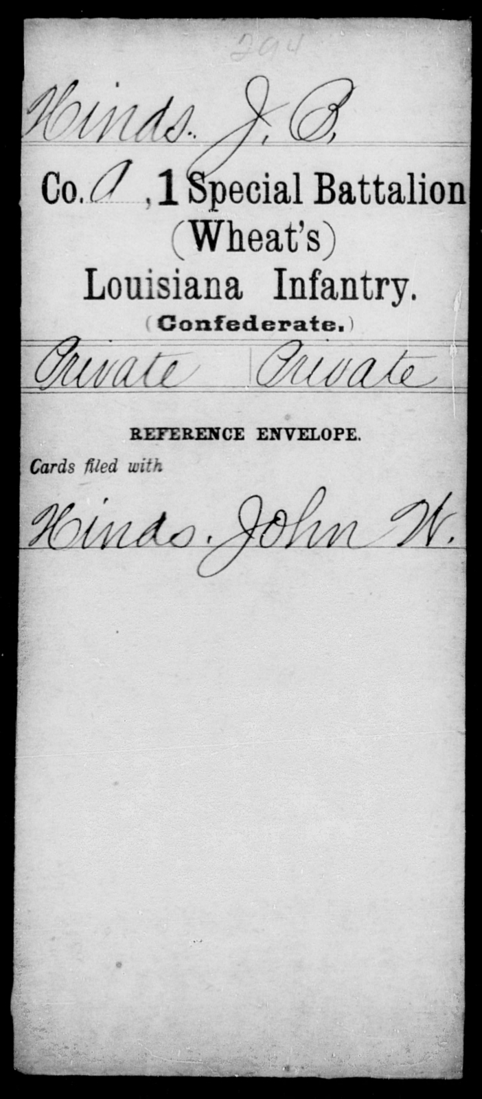 Hinds, J B - Age [Blank], Year: [Blank] - First (Wheat's) Special Battalion, Infantry, A - H - Louisiana