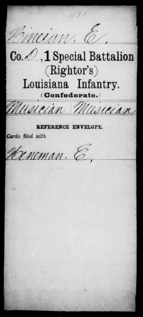 Hineian, E - Age [Blank], Year: [Blank] - First (Rightor's) Special Battalion, Infantry, G - M - Louisiana