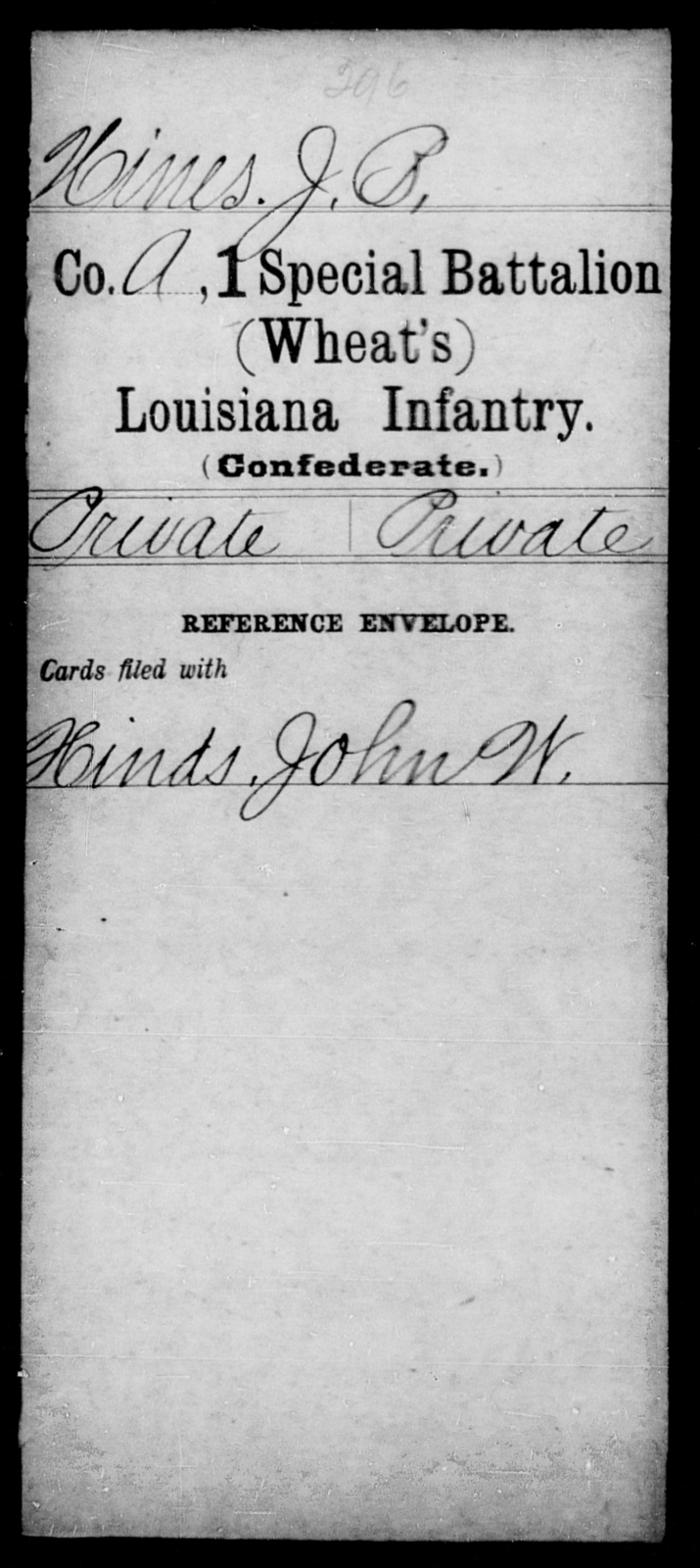 Hines, J B - Age [Blank], Year: [Blank] - First (Wheat's) Special Battalion, Infantry, A - H - Louisiana