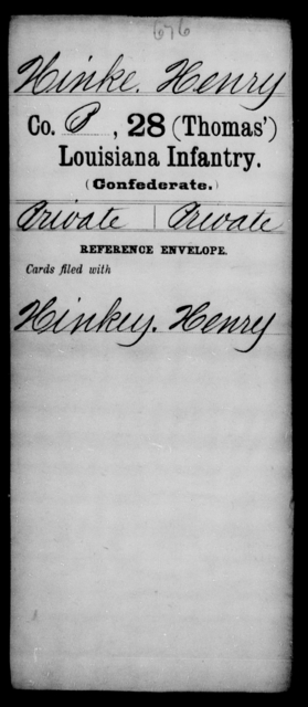 Hinke, Henry - Age [Blank], Year: [Blank] - Twenty-eighth (Thomas') Infantry, H - M - Louisiana