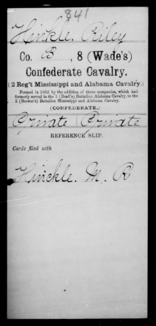 Hinkle, Riley - Age [Blank], Year: [Blank] - Eighth Confederate Cavalry, E-K - Raised Directly by the Confederate Government