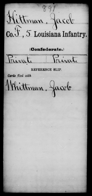 Hittman, Jacob - Age [Blank], Year: 1861 - Fourth Regiment, Third Brigade, First Division, AND Roll Military Unit - Louisiana