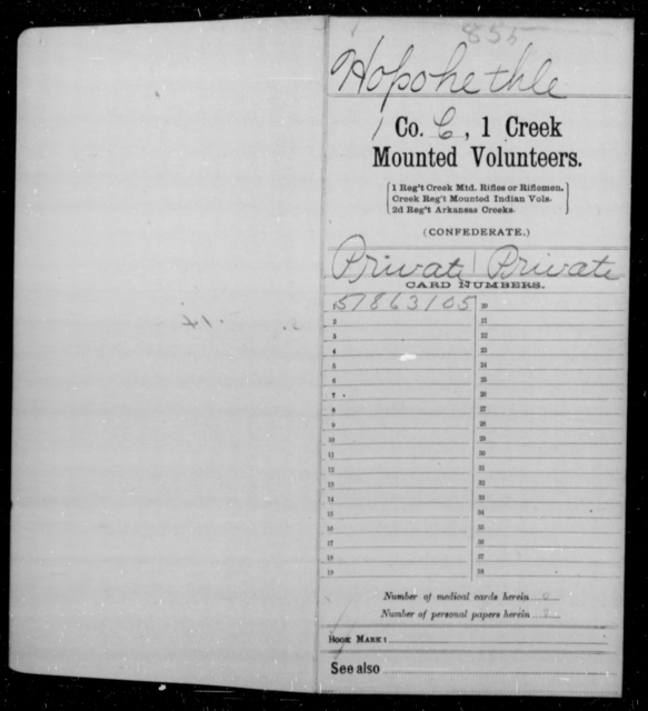 Ho Po He Thle, [Blank] - Age 40, Year: 1861 - First Creek Mounted Volunteers, A-H - Raised Directly by the Confederate Government