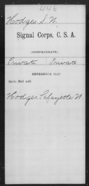 Hodges, S W - Age [Blank], Year: [Blank] - Signal Corps, CSA, G-L - Raised Directly by the Confederate Government