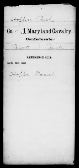 Hoffer, Paul - Age [Blank], Year: [Blank] - First Cavalry, H-Ll - Maryland