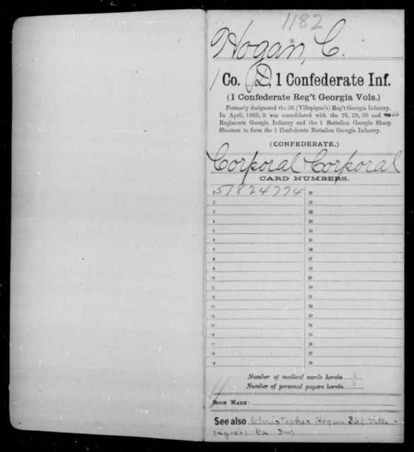 Hogan, Christopher - Age 20, Year: 1862 - First Confederate Infantry, He-K - Raised Directly by the Confederate Government