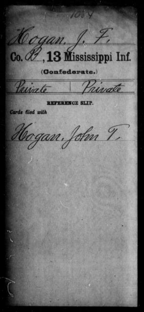 Hogan, J F - Age: [Blank], Year: [BLANK] - Mississippi C, Hi-K
