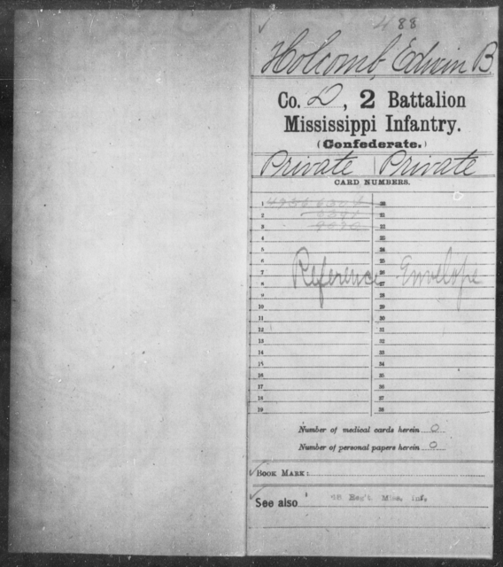 Holcomb, Edwin B - Age: [Blank], Year: [BLANK] - Mississippi Second Battalion, Infantry, A-P