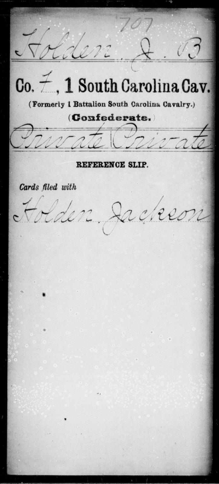 Holden, J B - Age: [Blank], Year: [BLANK] - South Carolina First Cavalry Ho-L