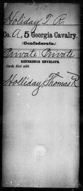 Holiday, T R - 5th Cavalry