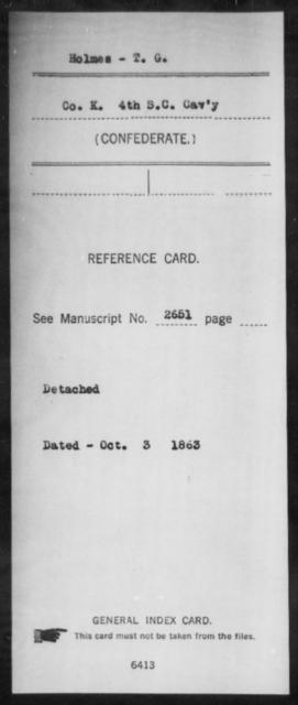 Holmes, T G - Age: [Blank], Year: [BLANK] - South Carolina Fourth Cavalry H-L