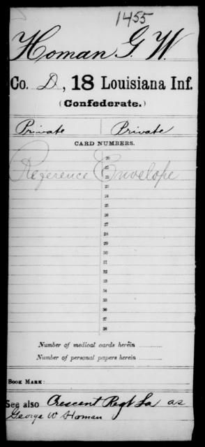 Homan, G W - Age [Blank], Year: [Blank] - Eighteenth Infantry, G - I - Louisiana