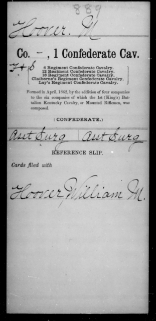 Hoover, M - Age [Blank], Year: 1862 - First Confederate Cavalry, D-H - Raised Directly by the Confederate Government