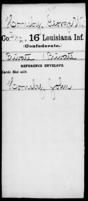 Hornsby, George W - Age [Blank], Year: [Blank] - Sixteenth Infantry, He - Ke - Louisiana