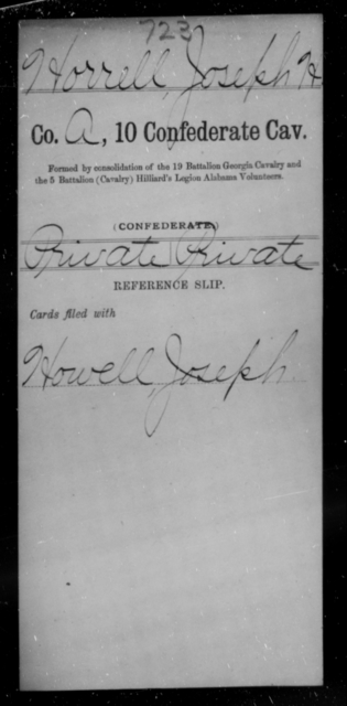 Horrell, Joseph H - Age [Blank], Year: [Blank] - Tenth Confederate Cavalry, F-K - Raised Directly by the Confederate Government