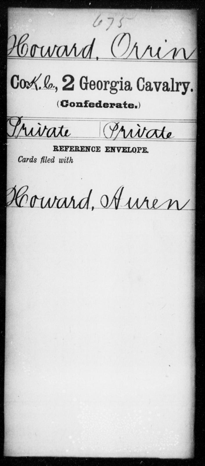 Howard, Orrin - 2d Georgia Cavalry