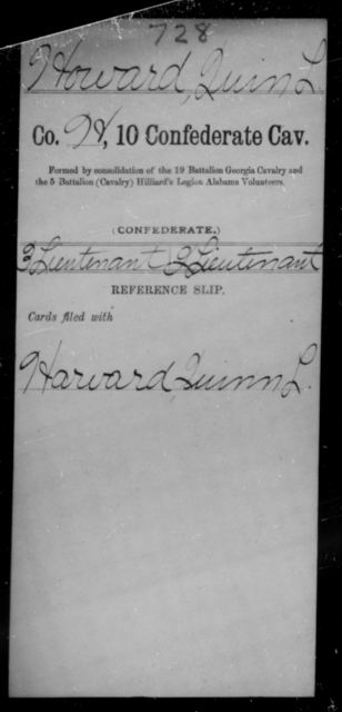 Howard, Quin L - Age [Blank], Year: 1864 - Tenth Confederate Cavalry, F-K - Raised Directly by the Confederate Government