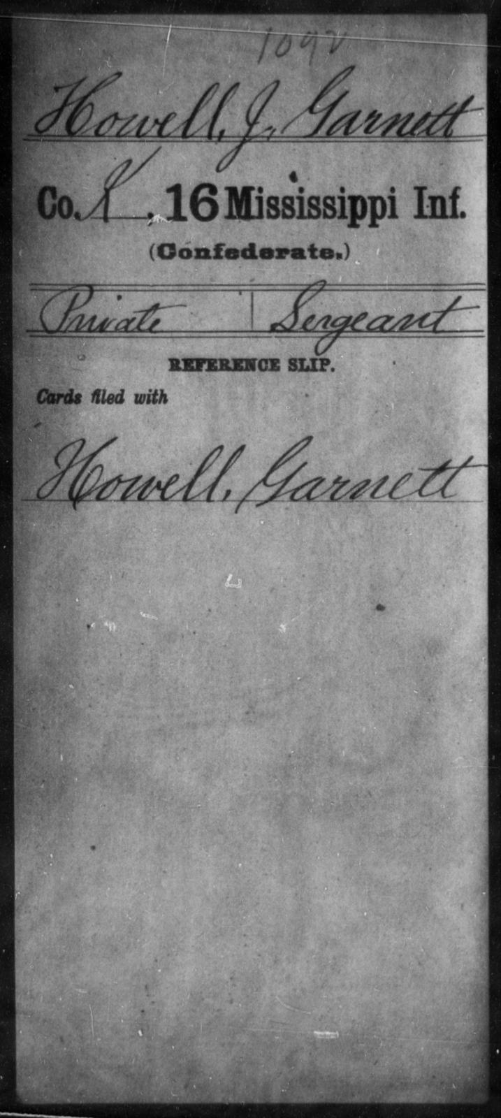 Howell, J Garnett - Age: [Blank], Year: [BLANK] - Mississippi Sixteenth Infantry, A, Ho-K