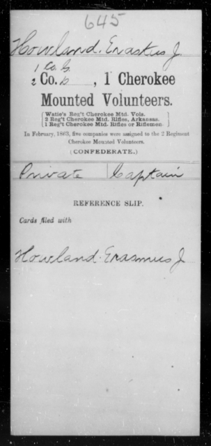 Howland, Eraskus J - Age [Blank], Year: [Blank] - First Cherokee Mounted Volunteers, A-K - Raised Directly by the Confederate Government