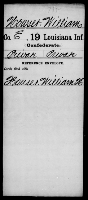 Howser, William - Age [Blank], Year: [Blank] - Nineteenth Infantry, Fe - Ho - Louisiana