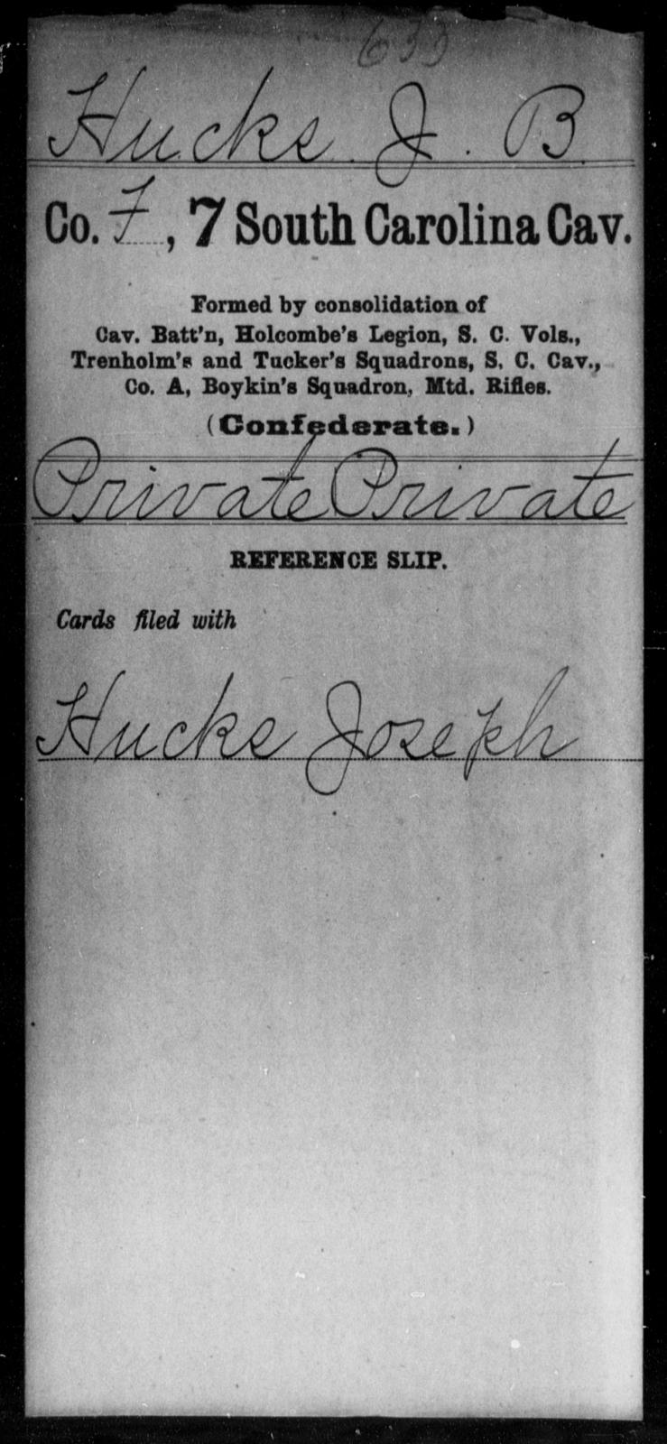 Hucks, J B - Age: [Blank], Year: [BLANK] - South Carolina Seventh Cavalry E-L