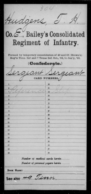 Hudgens, T H - Age [Blank], Year: [Blank] - Bailey's Consolidated Regiment of Infantry AND Bradford's Corps, Scouts and Guards - Raised Directly by the Confederate Government