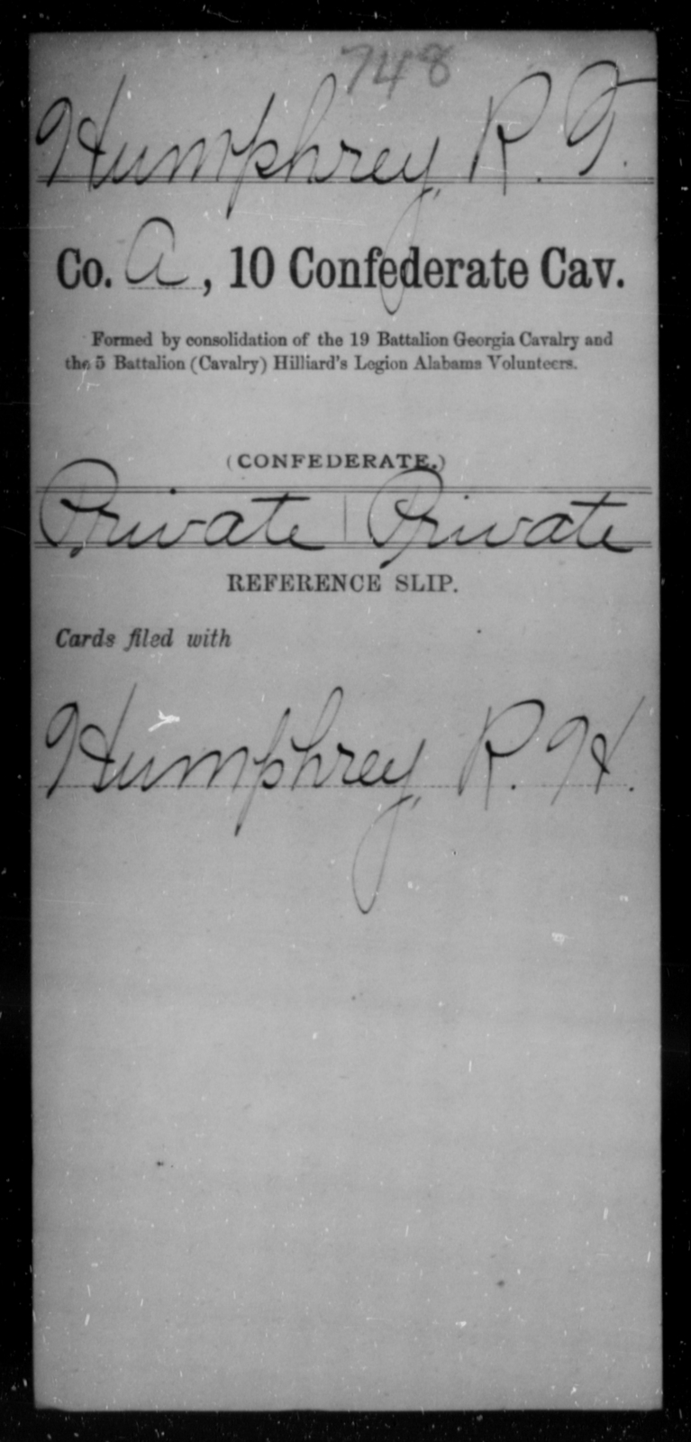 Humphrey, R T - Age [Blank], Year: [Blank] - Tenth Confederate Cavalry, F-K - Raised Directly by the Confederate Government