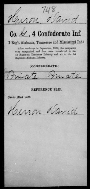 Huron, David - Age [Blank], Year: [Blank] - Fourth Confederate Infantry, G-N - Raised Directly by the Confederate Government