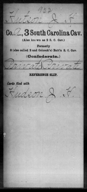 Hutson, J H - Age: [Blank], Year: [BLANK] - South Carolina Third Cavalry H-I
