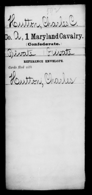 Hutton, Charles C - Age [Blank], Year: [Blank] - First Cavalry, H-Ll - Maryland