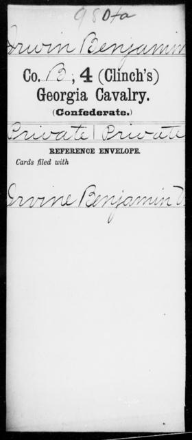 Irwin, Benjamin - 4th (Clinch's) Cavalry