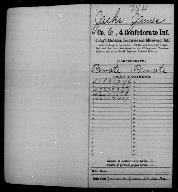 Jacks, James - Age [Blank], Year: 1861 - Fourth Confederate Infantry, G-N - Raised Directly by the Confederate Government