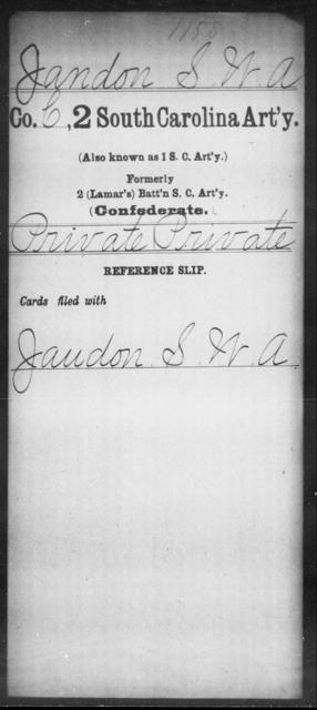 Jandon, S W A - Age: [Blank], Year: [BLANK] - South Carolina Second Artillery H-J