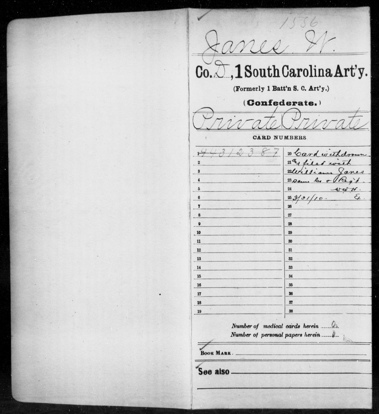 Janes, W - Age: [Blank], Year: [BLANK] - South Carolina First Artillery Hu-K