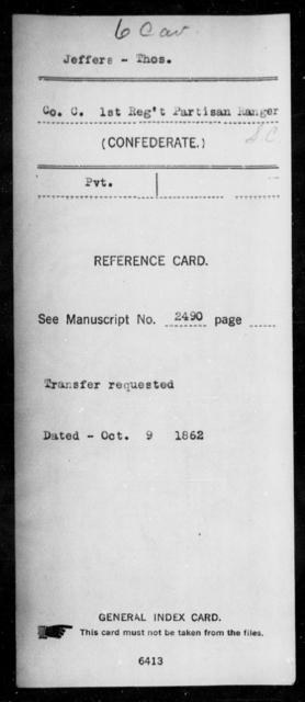 Jeffers, Thos - Age: [Blank], Year: [BLANK] - South Carolina Sixth Cavalry 1-Mc