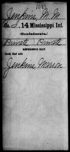 Jenkins, M M - Age: [Blank], Year: [BLANK] - Mississippi Fourteenth Infantry, I-Ma